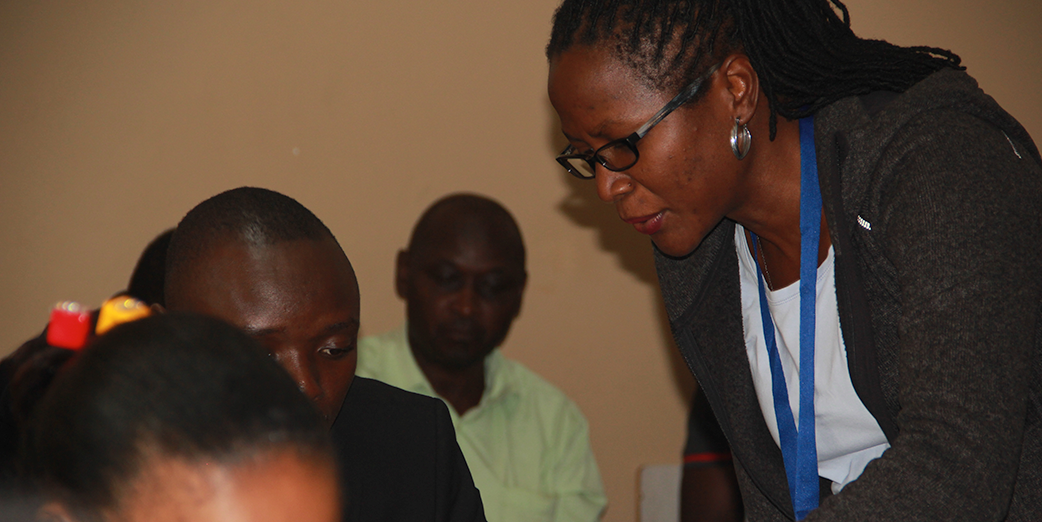 Ms Olivia Bbombokka – Monitoring and Evaluation Officer, AFENET illustrating to participants the use of a mobile kit  a workshop at the regional training held in Jinja, Uganda from 22 to 25 November 2017