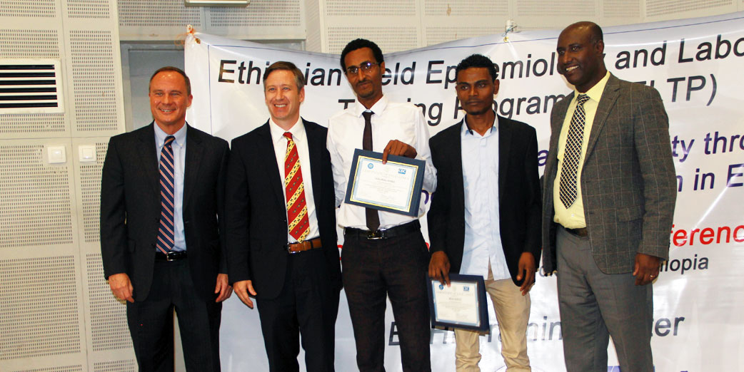 EFETP Residents Awarded for best presentation by Ambassador Michael Raynor U.S. Embassy, Dr David Sugarman - CDC Resident Advisor EFETP and H.E. Dr. Amir Aman Hagos, State Minister of Health