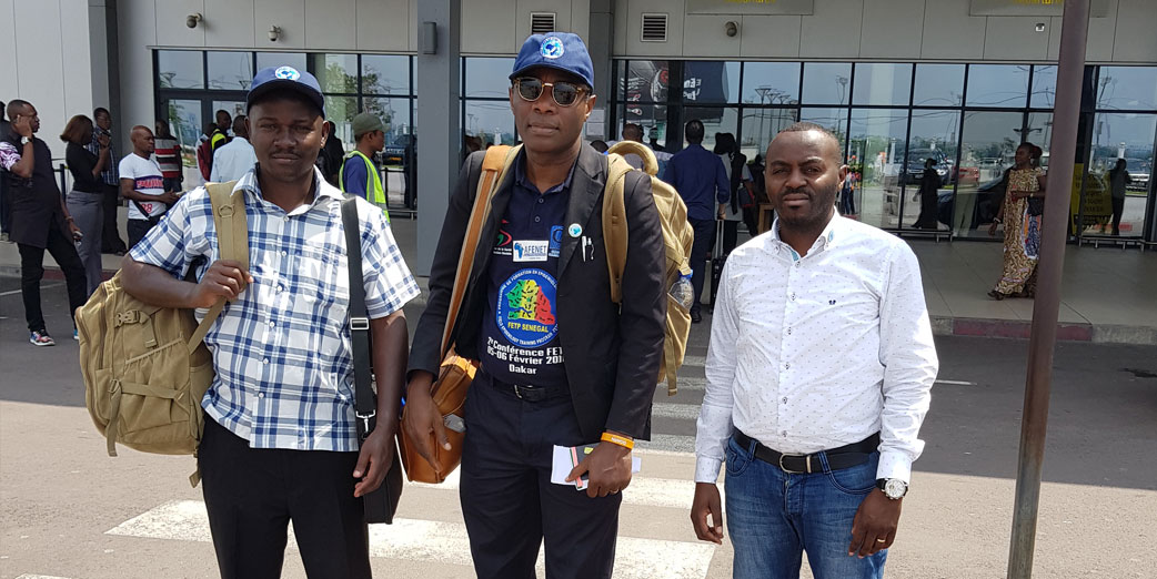 The AFENET team and the DRC Resident Advisor (right) on arrival at the Kinshasa Airport