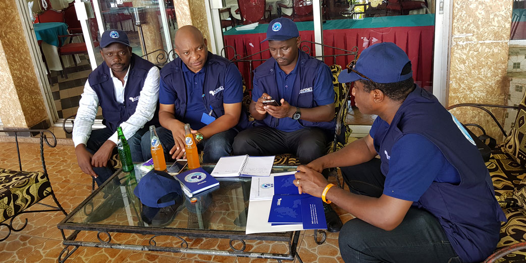 The AFENET team meeting with the Iboko surveillance team lead, Dr. Andre (Left)