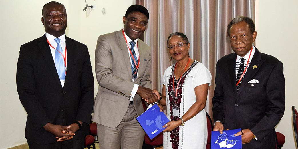 Dr Tolbert G. Nyenswah, Director General NPHIL; Dr Chima J. Ohuabunwo, Executive Director AFENET; Dr Ophelia Inez Weeks, President University of Liberia and Prof. Emmet A. Dennis, President Emeritus, University of Liberia at the first Liberia Conference