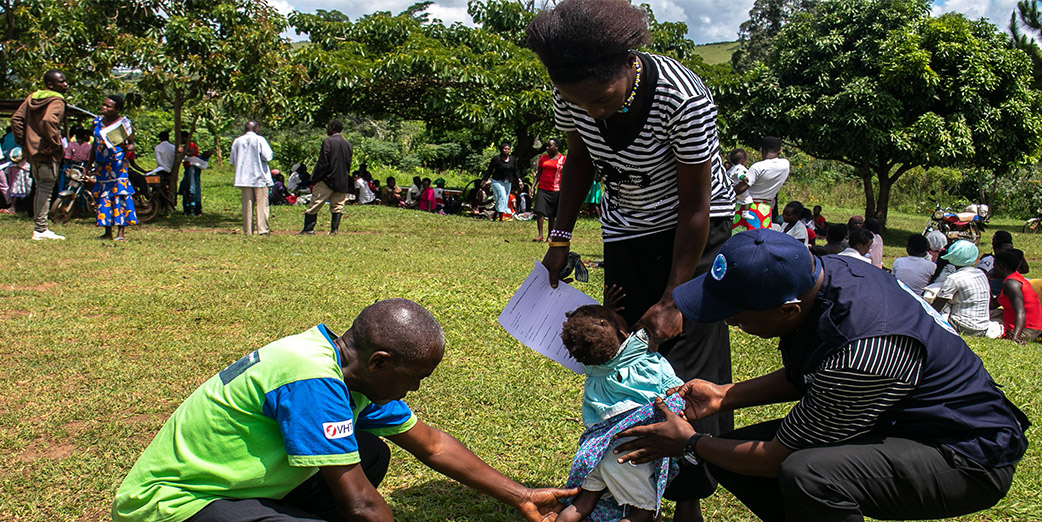 National Stop Transmission of Polio (NSTOP) field teams conduct Active Search for Acute Flaccid Paralysis (AFP) in Kyenjojo district, Uganda.