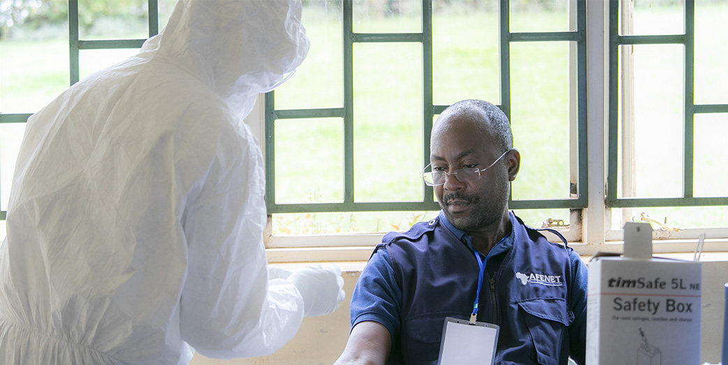 Dr Kayita Godfrey, an epidemiologist with AFENET was being tested at Makindye Division among other health workers from the Kampala Capital City Authority (KCCA) on 27 April 2020.