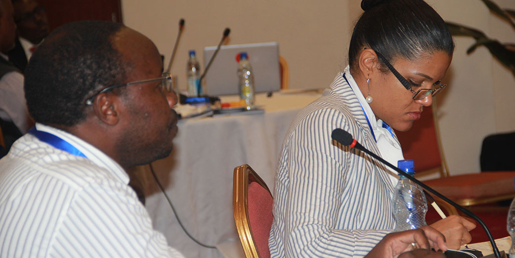 Dr Cynthia Cema, the Program Director, Mozambique FELTP and Mr. Nyambe Sinyange, Zambia FELTP at the  AFENET Annual General Meeting