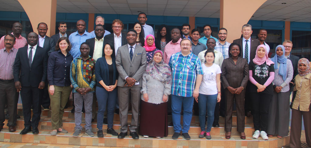 Participants at the Global Partnership Initiated Biosecurity Academia for Controlling Health Threats (GIBACHT), Cohort III workshop in October 2017 in Kampala, Uganda. (Center) Dr Chima Ohuabunwo – AFENET Executive Director. (Photo courtesy of Racheal Chelimo)