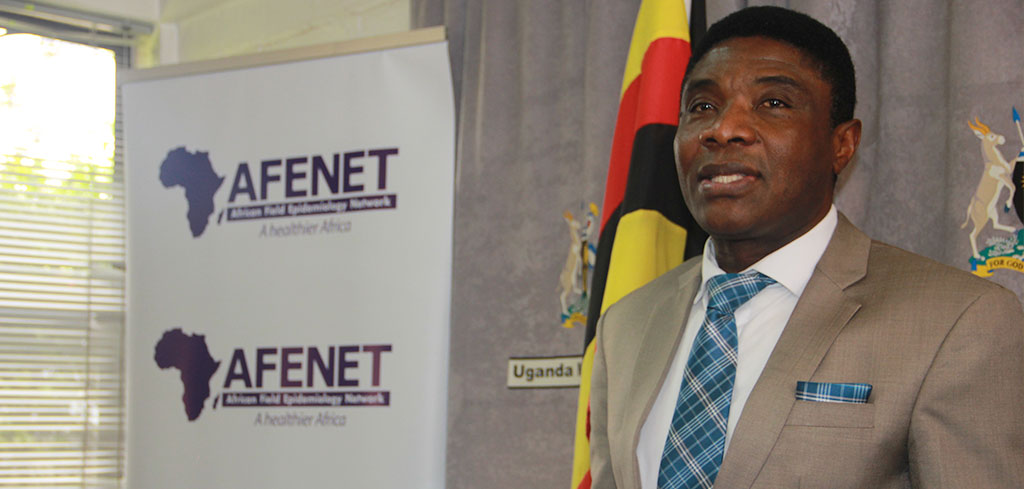 Dr. Chima Ohuabunwo, Executive Director AFENET, addressing media at the Uganda Media Center.