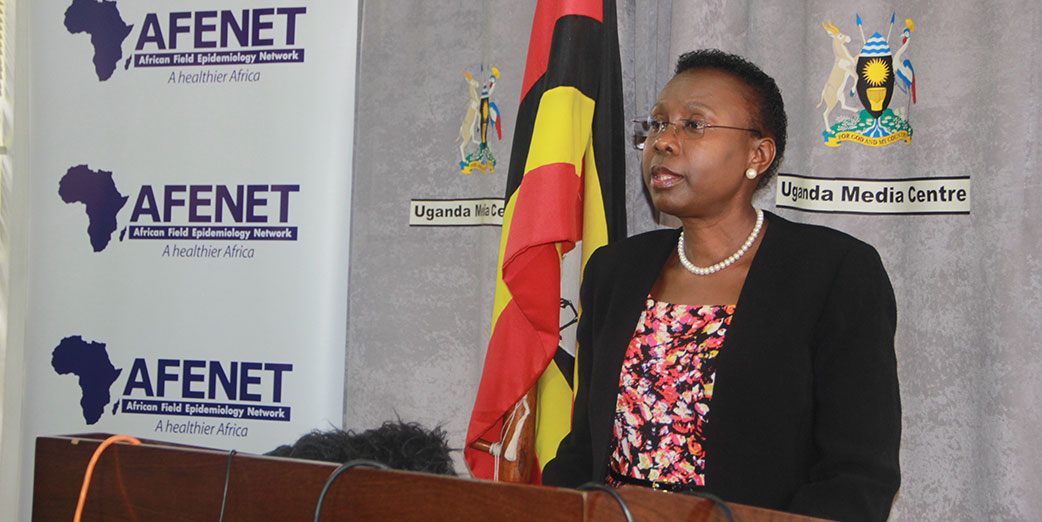 Hon. Ruth Aceng,  the Minister of Health, Uganda,  addressing media at the Uganda Media Center.