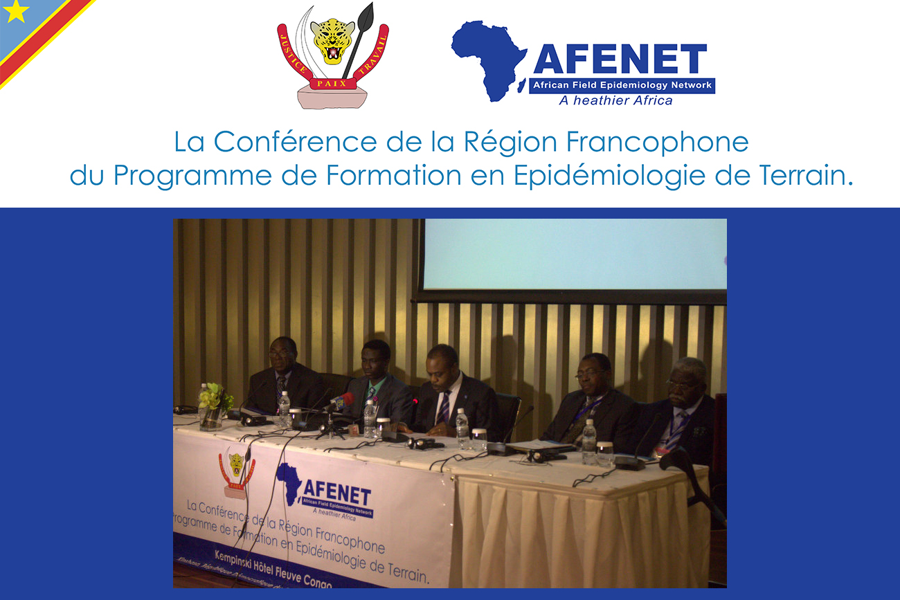 The DRC Minister of Health (Centre), Dr Oly Ilunga Kalenga opens the 1st AFENET Francophone Regional Conference in Kinshasa, DRC