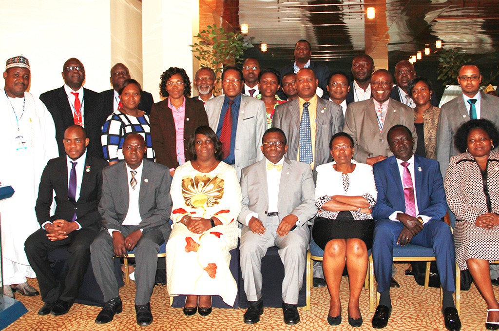 African Ministers of Health and representatives during the 6th AFENET Scientific Conference (4th and 5th from Right) are Federal Minister of Health of Nigeria, Hon. Prof. Isaac Adewole, and Minister of Health from Uganda, Hon. Judith Ruth Aceng who chaired the meeting.