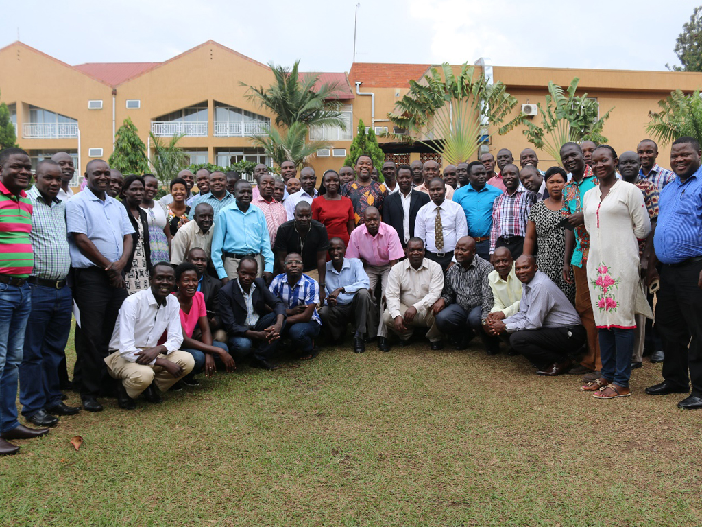 Frontline trainees, AFENET staff and MOH officials at the Uganda Frontline FETP Graduation June 2017